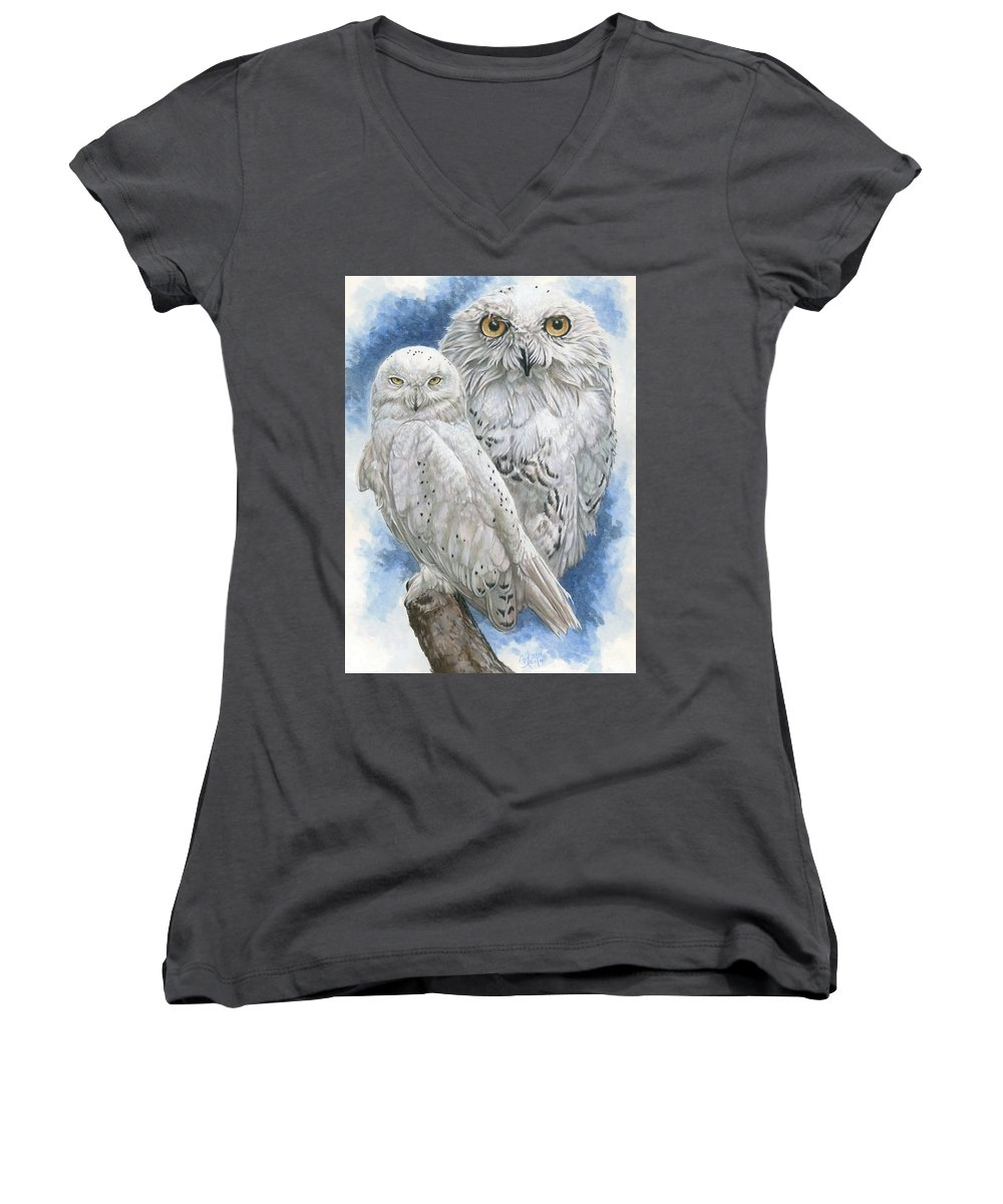 Snowy Owl Women's V-Neck (Athletic Fit) featuring the mixed media Radiant by Barbara Keith