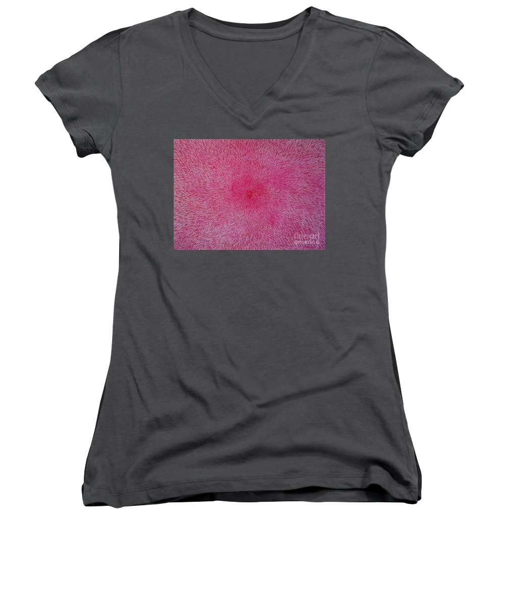Abstract Women's V-Neck (Athletic Fit) featuring the painting Radiation With Pink And Magenta by Dean Triolo