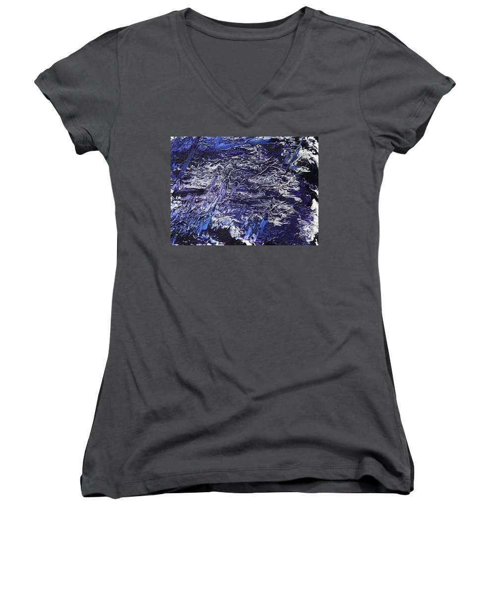 Fusionart Women's V-Neck (Athletic Fit) featuring the painting Rapid by Ralph White