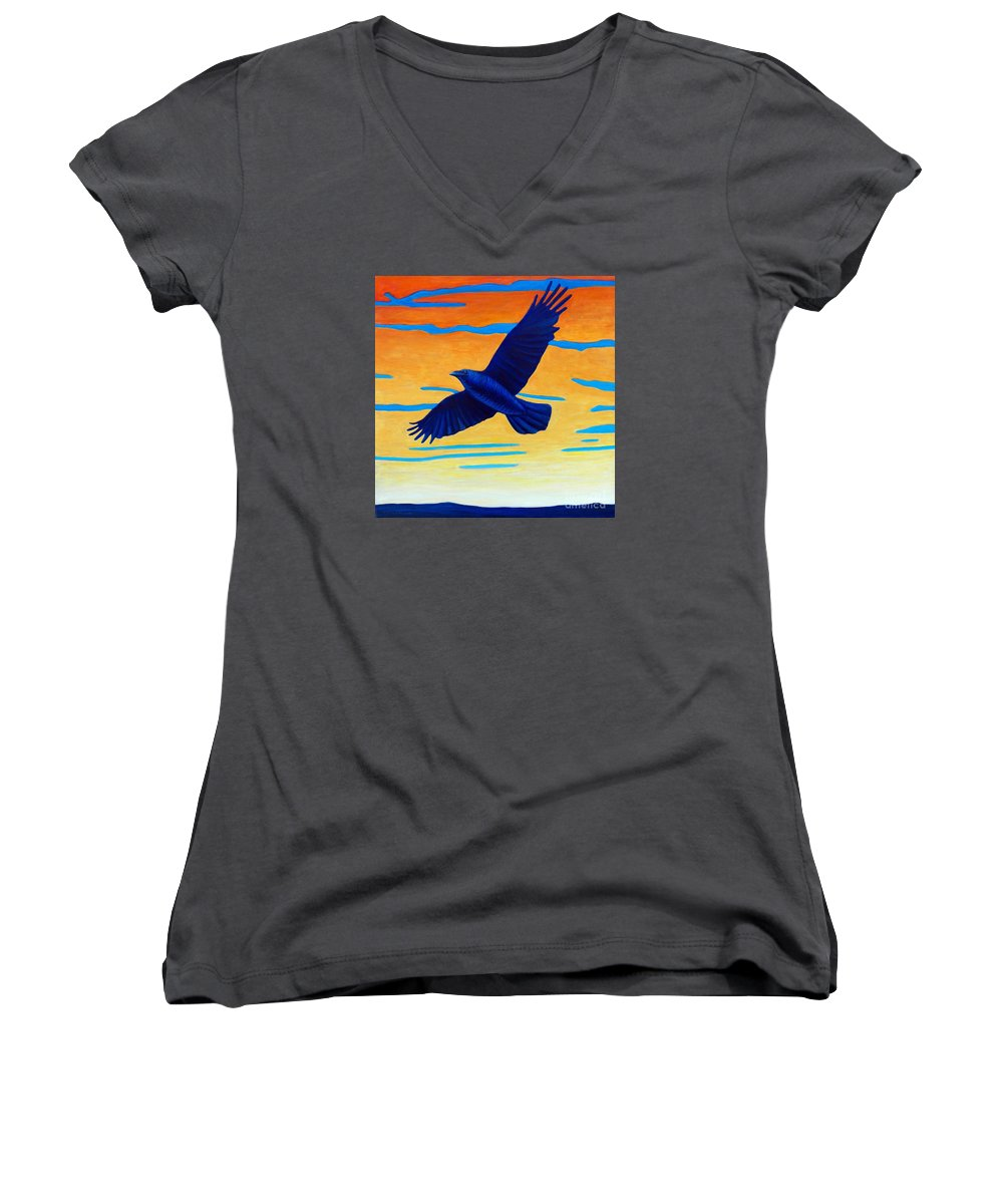 Raven Women's V-Neck T-Shirt featuring the painting Raven Rising by Brian Commerford