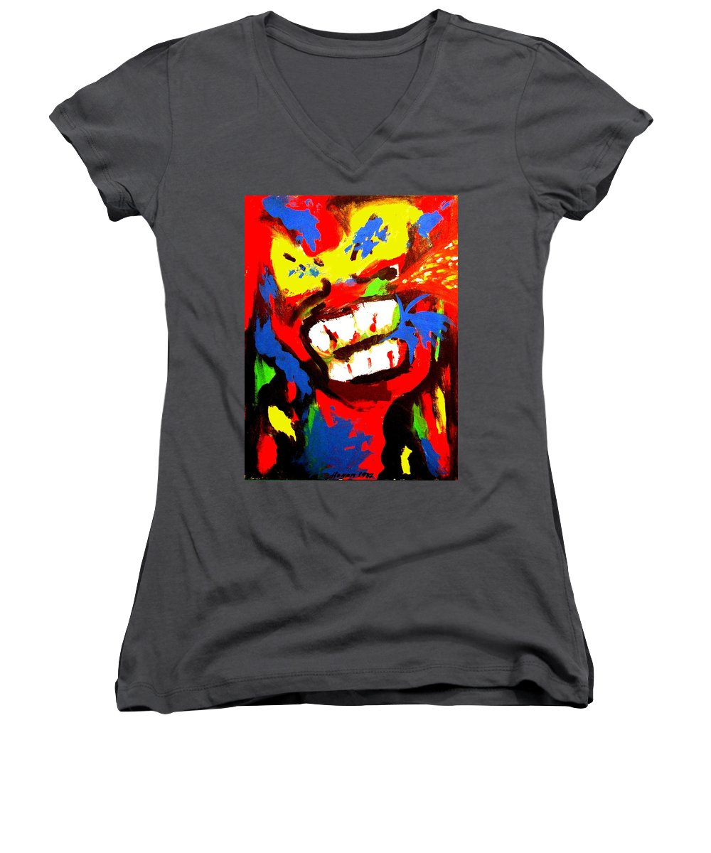 Teenager Women's V-Neck T-Shirt featuring the painting Rebel Rebel by Alan Hogan
