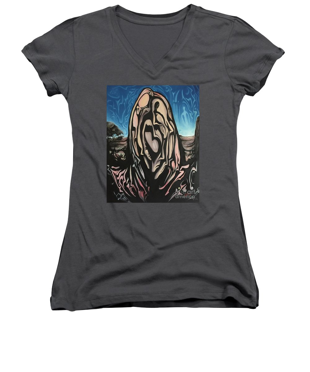 Tmad Women's V-Neck (Athletic Fit) featuring the painting Recluse by Michael TMAD Finney
