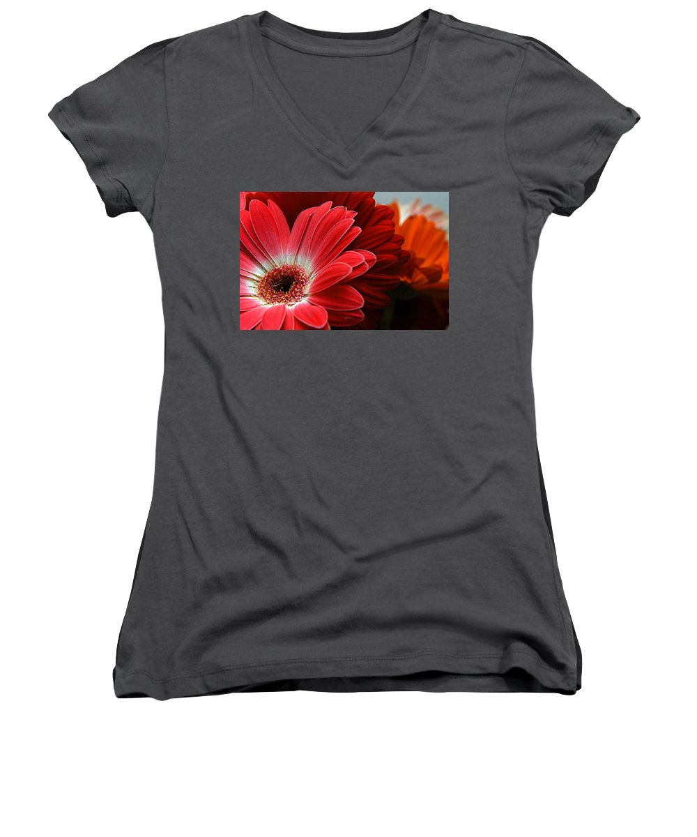 Clay Women's V-Neck T-Shirt featuring the photograph Red And Orange Florals by Clayton Bruster