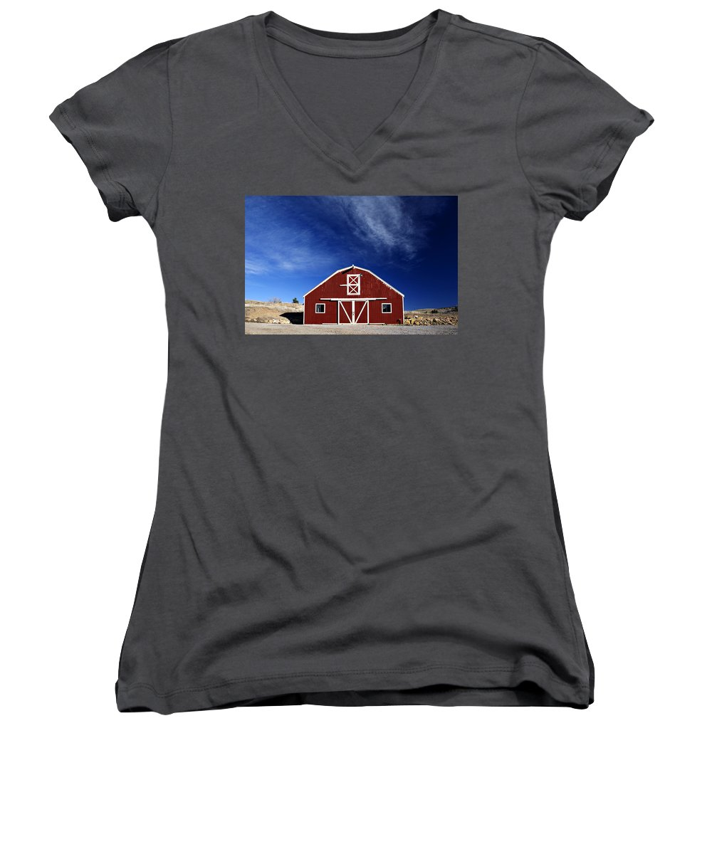 Americana Women's V-Neck T-Shirt featuring the photograph Red And White Barn by Marilyn Hunt
