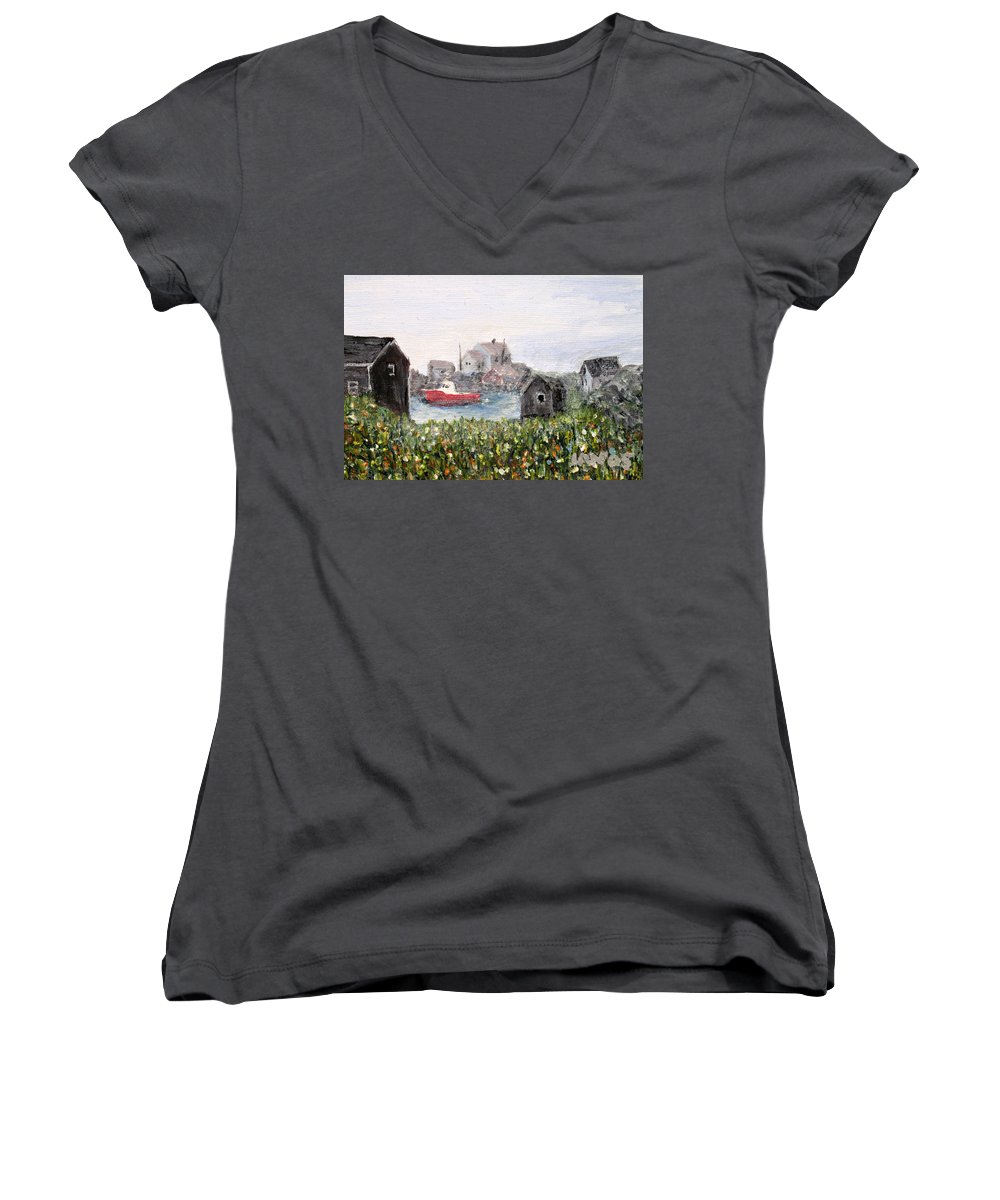 Red Boat Women's V-Neck (Athletic Fit) featuring the painting Red Boat In Peggys Cove Nova Scotia by Ian MacDonald