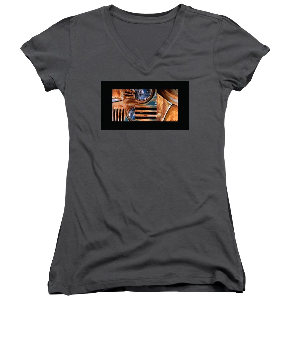 Abstract Photo Of Chevy Truck Women's V-Neck T-Shirt featuring the photograph Red Head On by Steve Karol