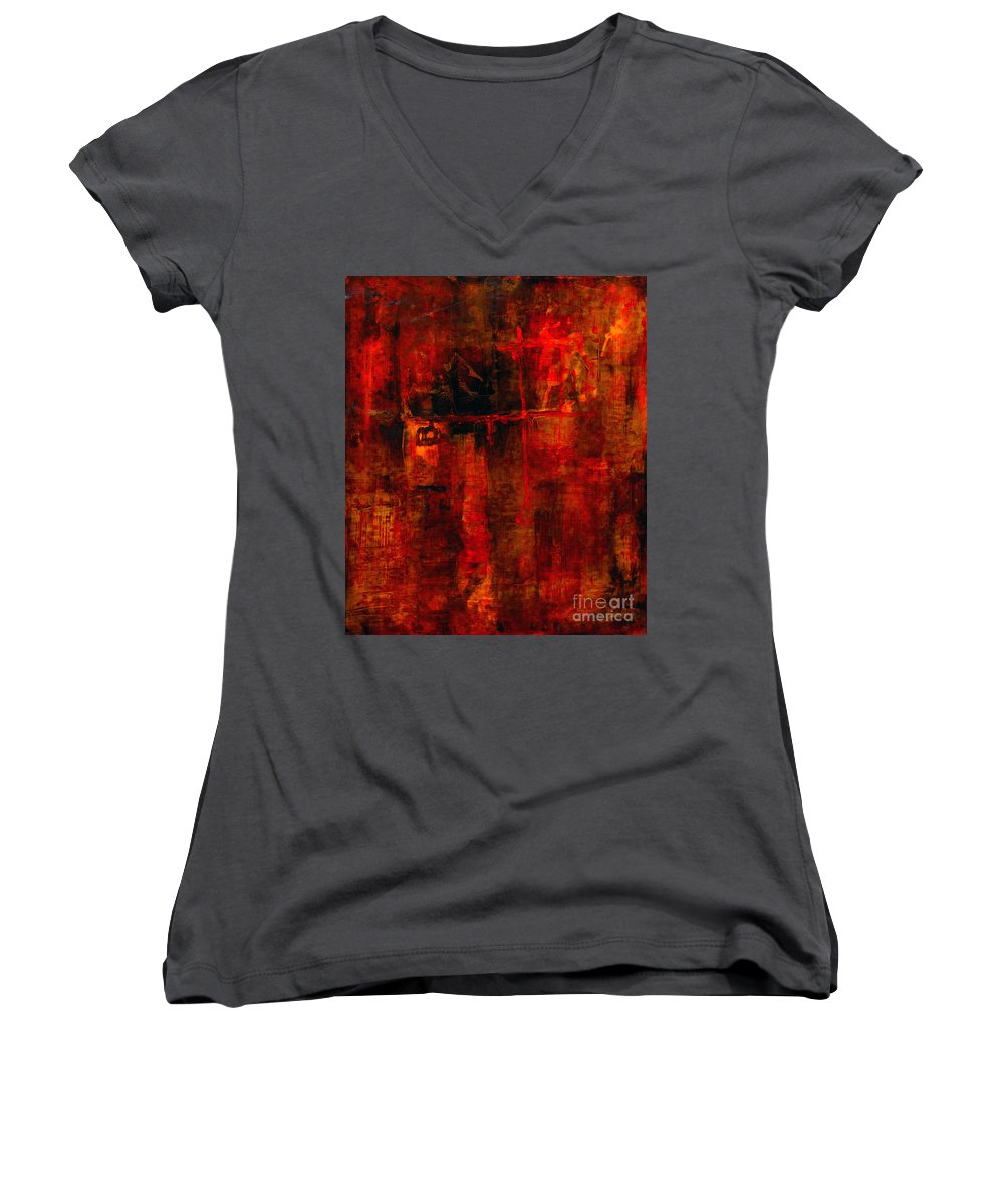 Abstract Painting Women's V-Neck (Athletic Fit) featuring the painting Red Odyssey by Pat Saunders-White