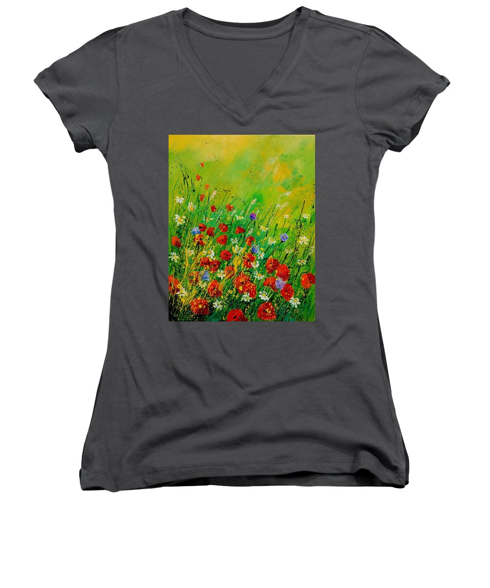 Flowers Women's V-Neck T-Shirt featuring the painting Red Poppies 450708 by Pol Ledent