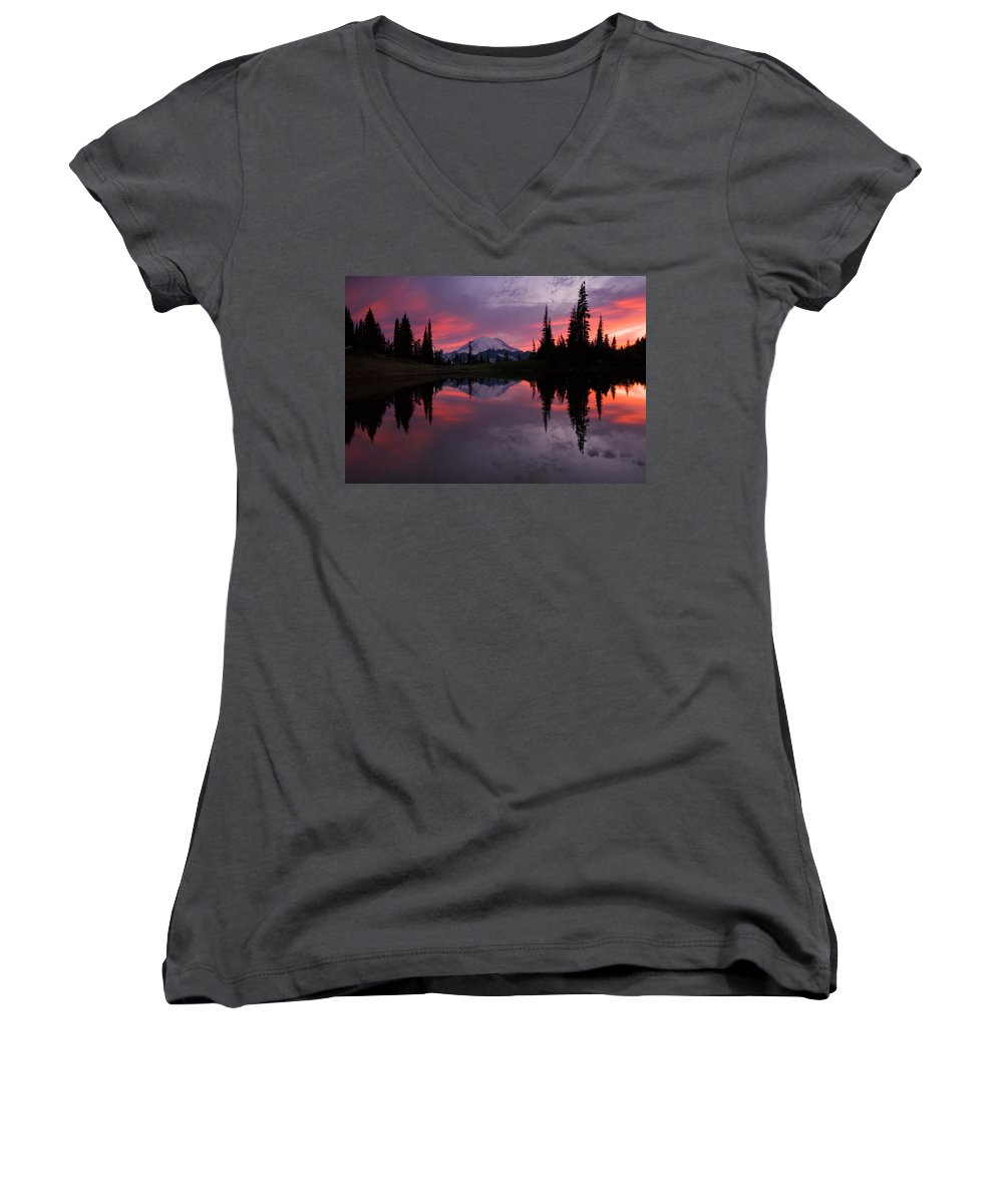 Rainier Women's V-Neck T-Shirt featuring the photograph Red Sky At Night by Mike Dawson