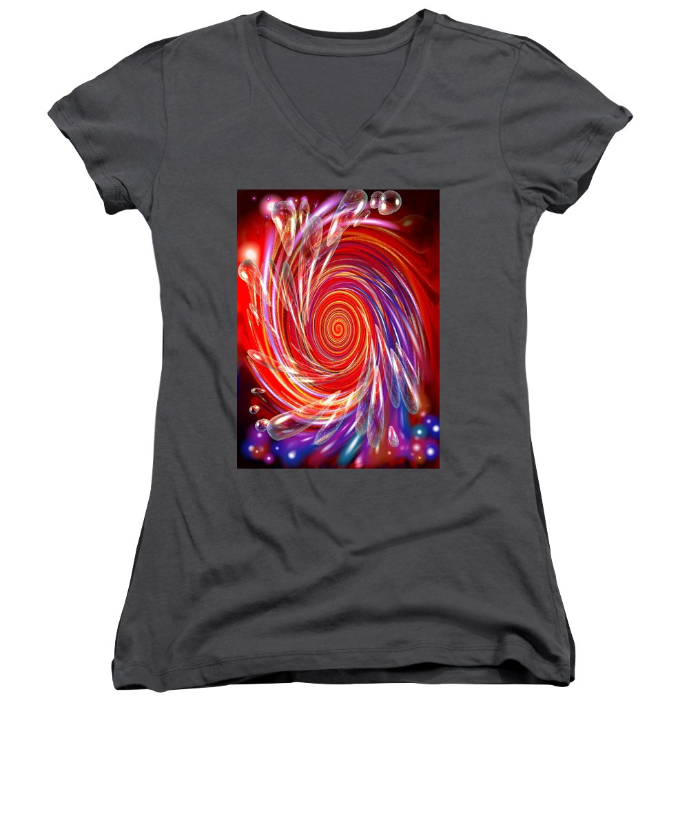 Red Women's V-Neck (Athletic Fit) featuring the digital art Red Twirl by Natalie Holland