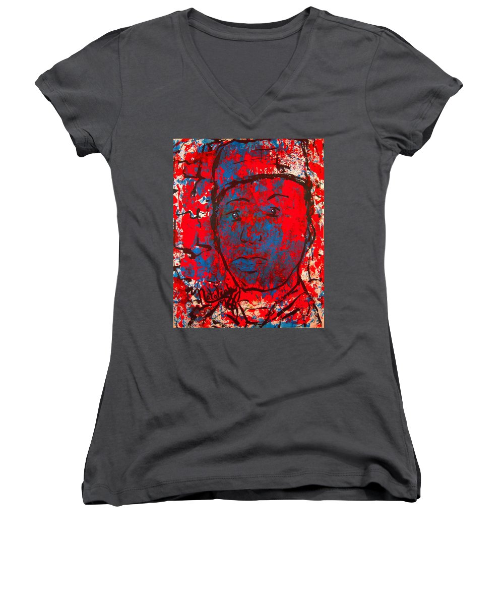 Man Women's V-Neck T-Shirt featuring the painting Red White And Blue by Natalie Holland