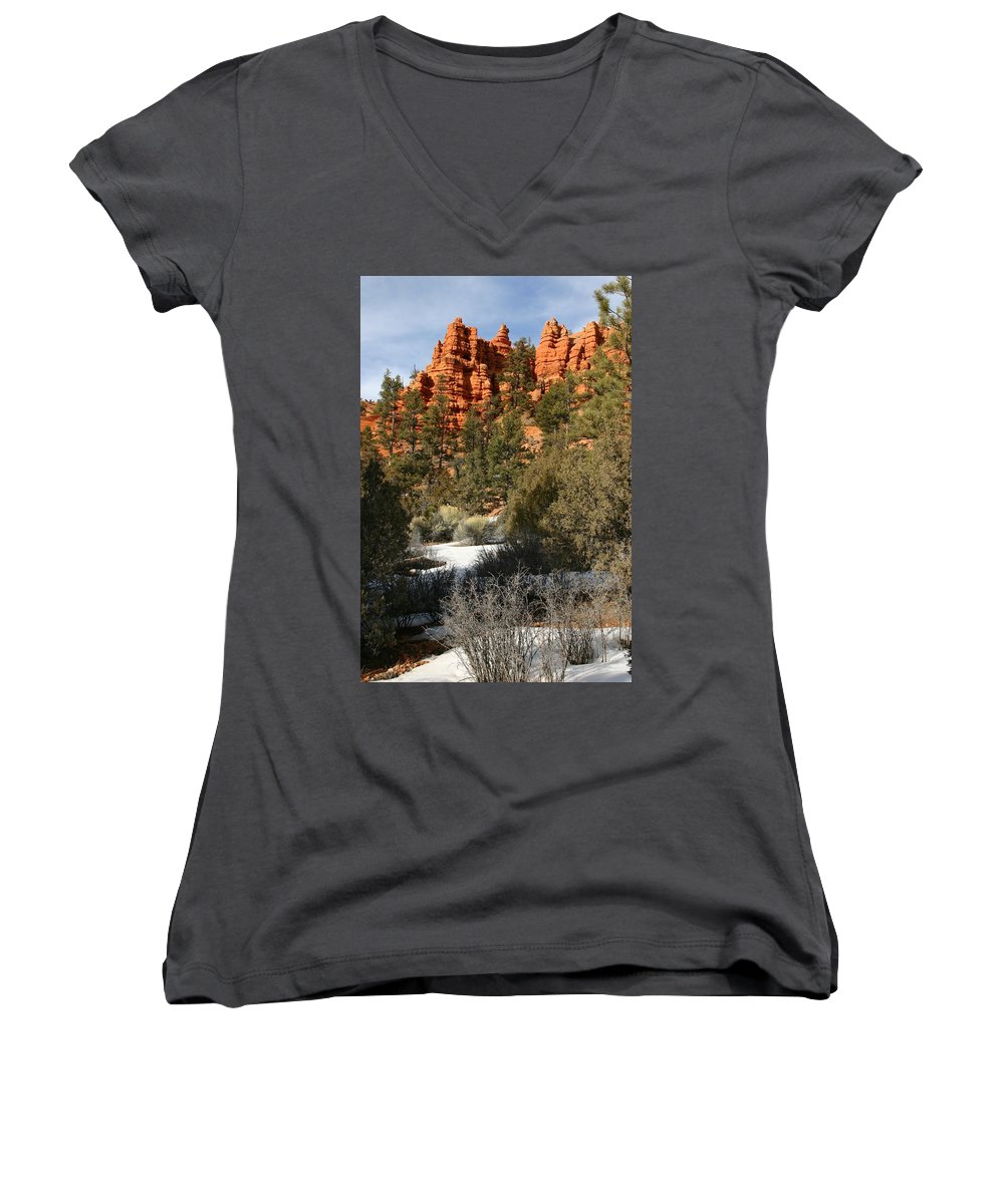 Red Rocks Women's V-Neck (Athletic Fit) featuring the photograph Redrock Winter by Nelson Strong