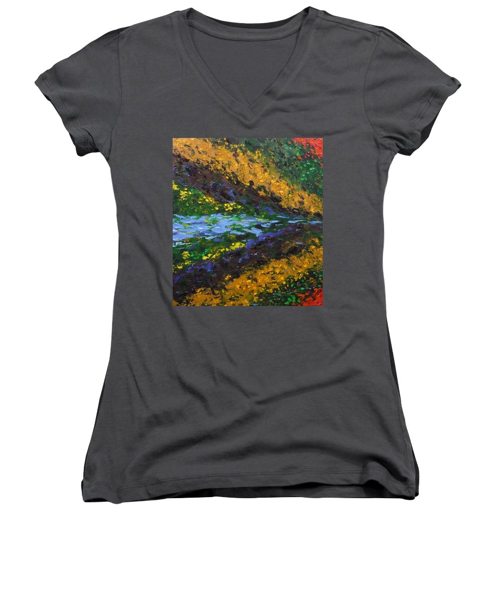 Landscape Women's V-Neck T-Shirt featuring the painting Reflection One by Ericka Herazo