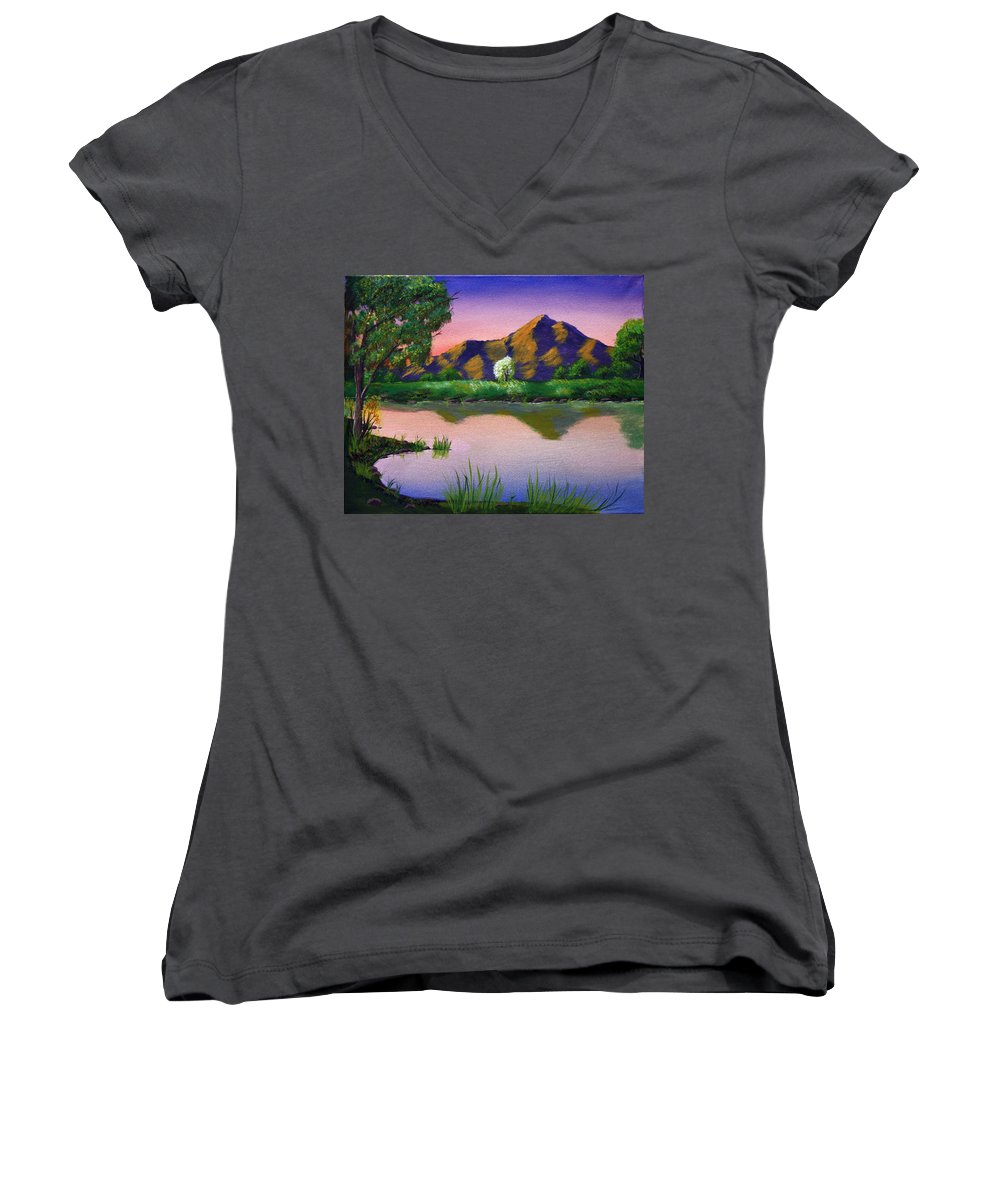 Landscape Women's V-Neck T-Shirt featuring the painting Reflections In The Breeze by Dawn Blair