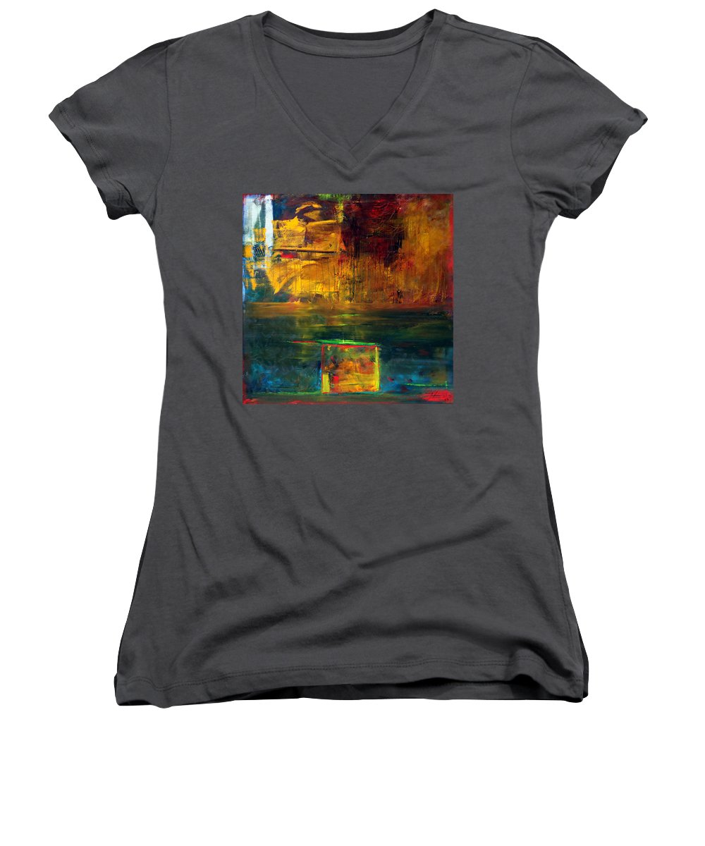 New York City Reflection Red Yellow Blue Green Women's V-Neck T-Shirt featuring the painting Reflections Of New York by Jack Diamond