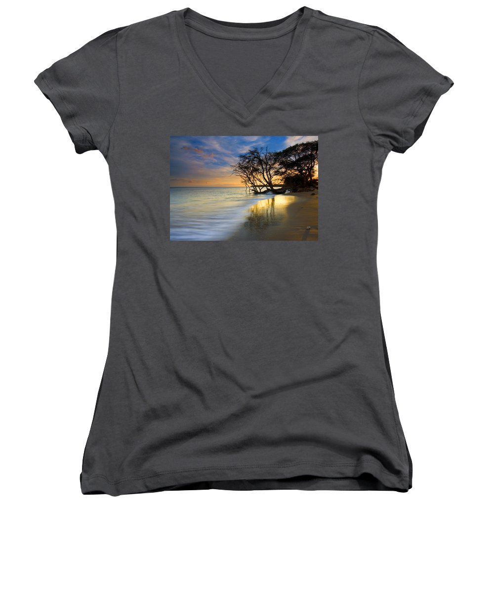 Waves Women's V-Neck (Athletic Fit) featuring the photograph Reflections Of Paradise by Mike Dawson