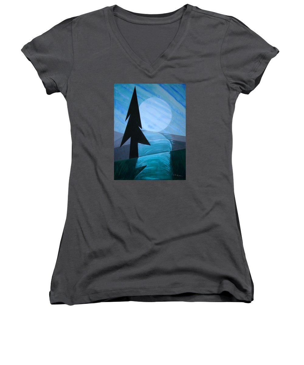 Phases Of The Moon Women's V-Neck T-Shirt featuring the painting Reflections On The Day by J R Seymour