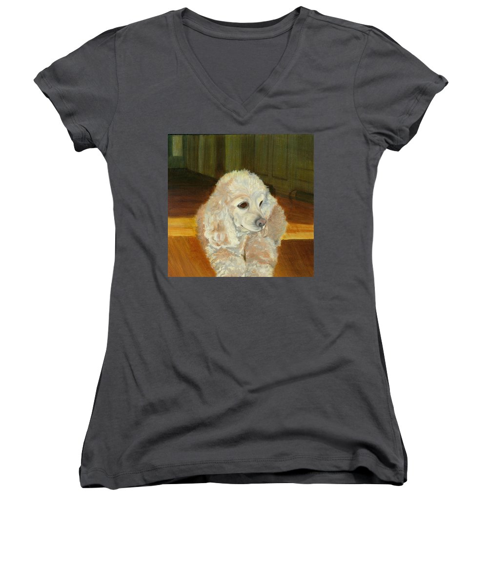 Animal Women's V-Neck T-Shirt featuring the painting Remembering Morgan by Paula Emery