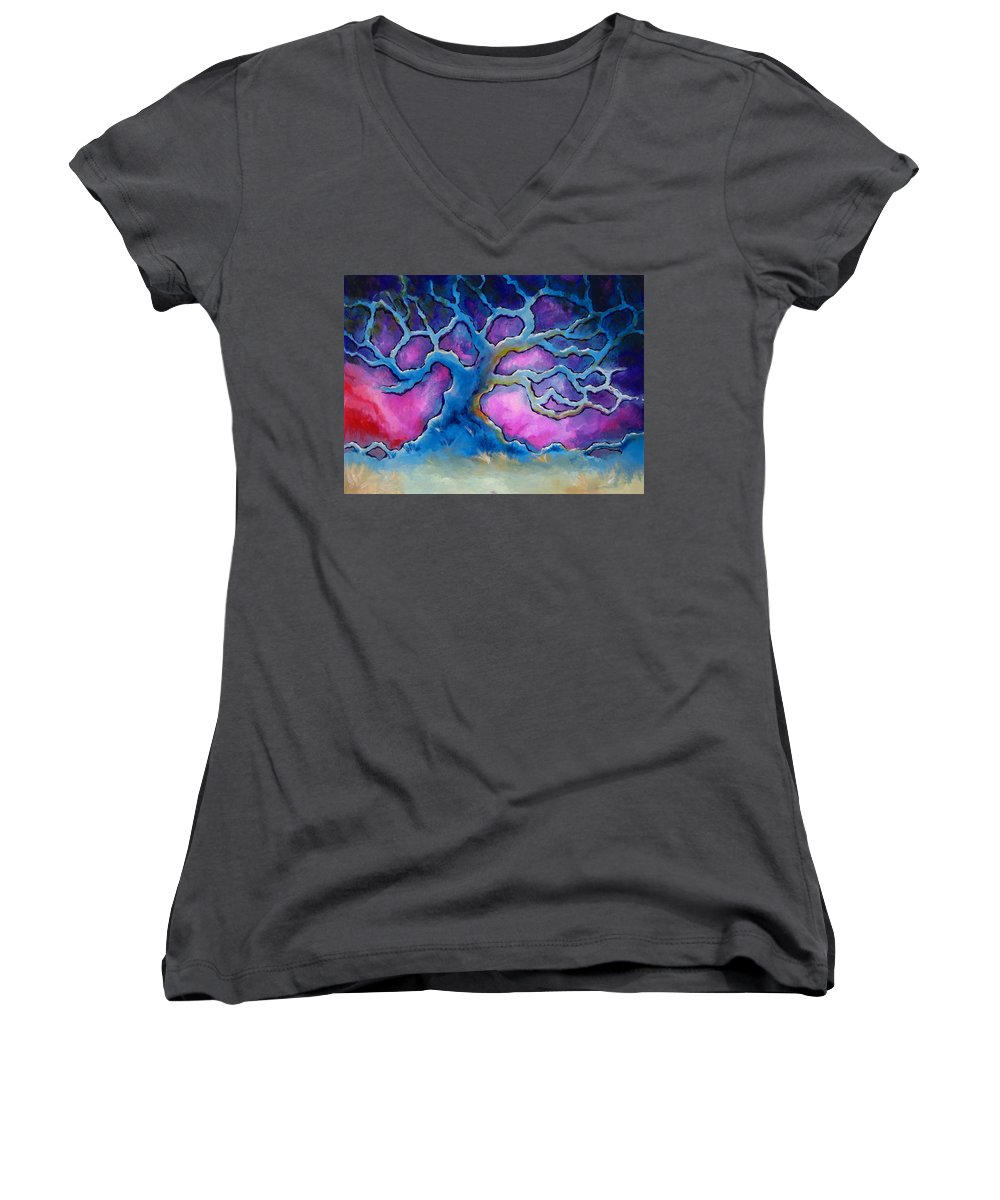Landscape Women's V-Neck T-Shirt featuring the painting Ria by Jennifer McDuffie