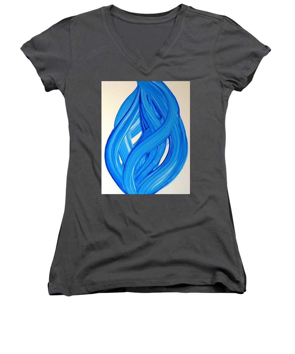 Abstract Modern Contemporary Yupo Art Painting Romantic Pop Blue Women's V-Neck T-Shirt featuring the painting Ribbons Of Love-blue by Manjiri Kanvinde