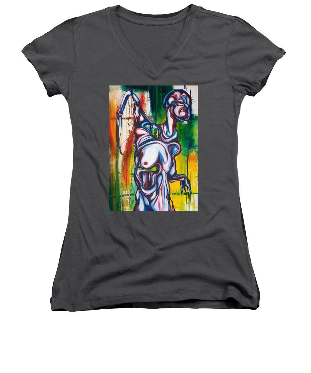 Monster Women's V-Neck (Athletic Fit) featuring the painting Rising Son by Sheridan Furrer