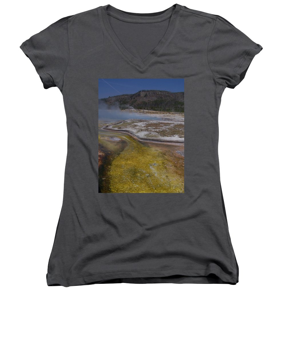 Geyser Women's V-Neck T-Shirt featuring the photograph River Of Gold by Gale Cochran-Smith