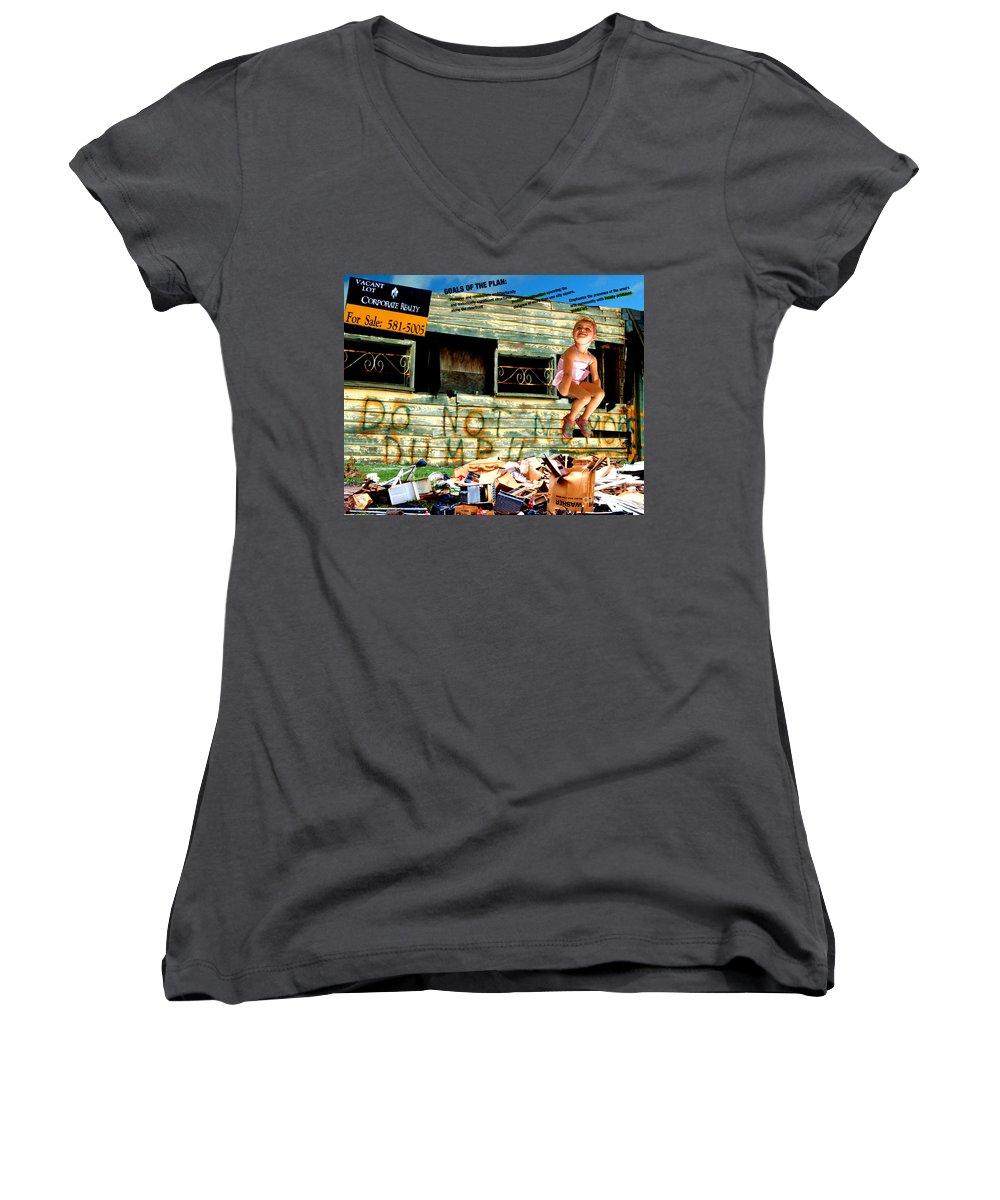 Riverfront Development Women's V-Neck T-Shirt (Junior Cut) featuring the photograph Riverfront Visions by Ze DaLuz