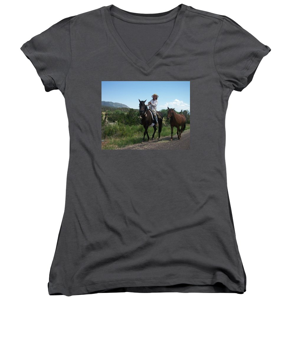 Horses Women's V-Neck (Athletic Fit) featuring the photograph Roadside Horses by Anita Burgermeister