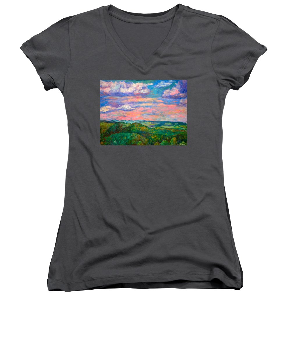 Landscape Paintings Women's V-Neck T-Shirt featuring the painting Rock Castle Gorge by Kendall Kessler
