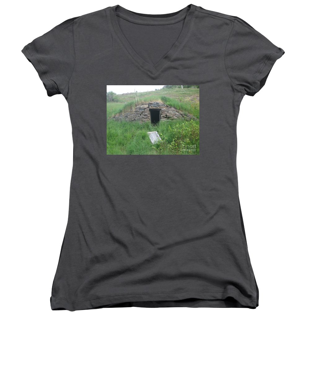 Photograph Cellar Old Green Newfoundland Women's V-Neck (Athletic Fit) featuring the photograph Root Cellar by Seon-Jeong Kim