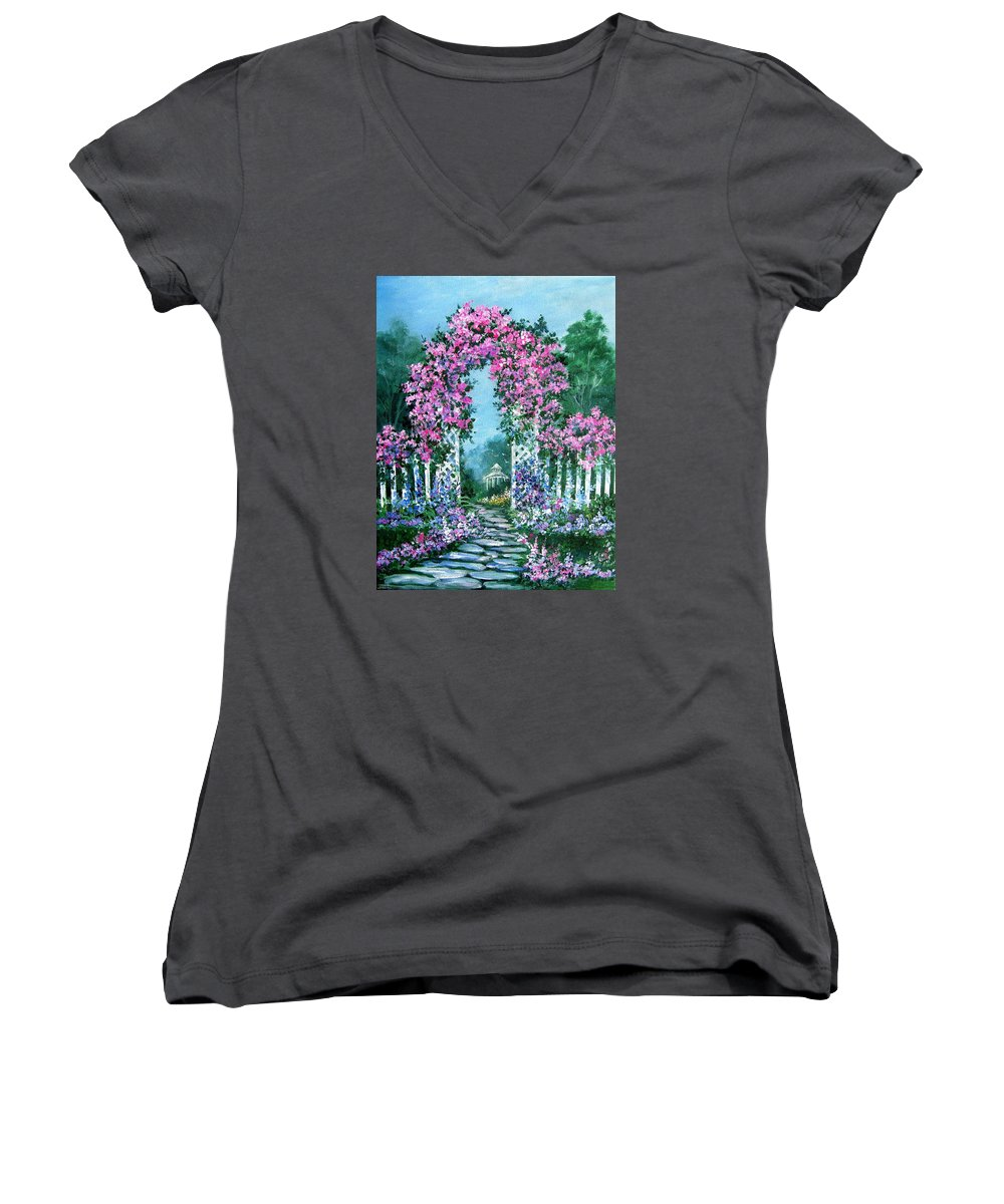 Roses;floral;garden;picket Fence;arch;trellis;garden Walk;flower Garden; Women's V-Neck T-Shirt featuring the painting Rose-covered Trellis by Lois Mountz