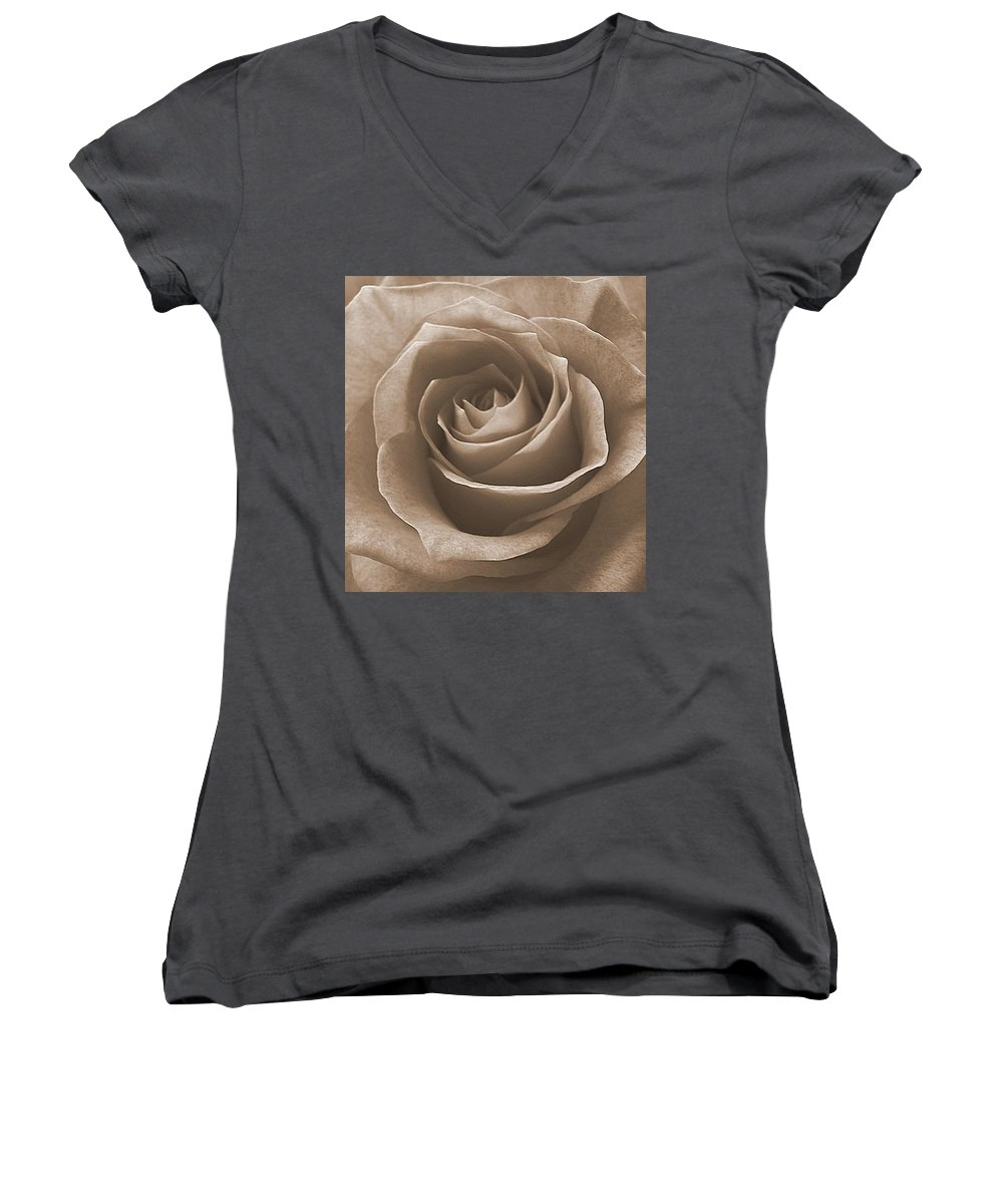 Rose Sepia Pedals Women's V-Neck T-Shirt featuring the photograph Rose In Sepia by Luciana Seymour