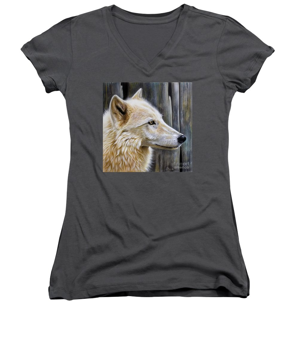 Wolves Women's V-Neck T-Shirt featuring the painting Rose by Sandi Baker