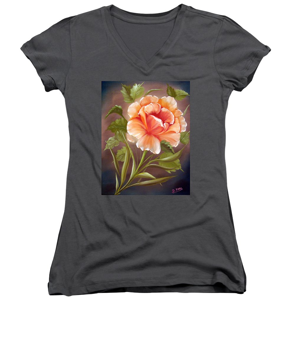 Rose Women's V-Neck (Athletic Fit) featuring the painting Rose Tropicana by David G Paul