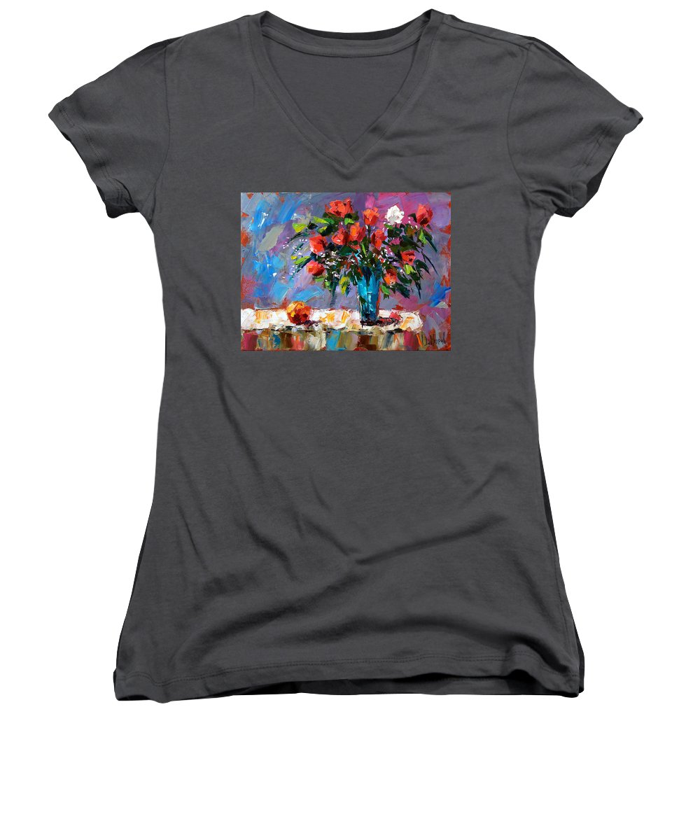 Flowers Women's V-Neck T-Shirt featuring the painting Roses And A Peach by Debra Hurd