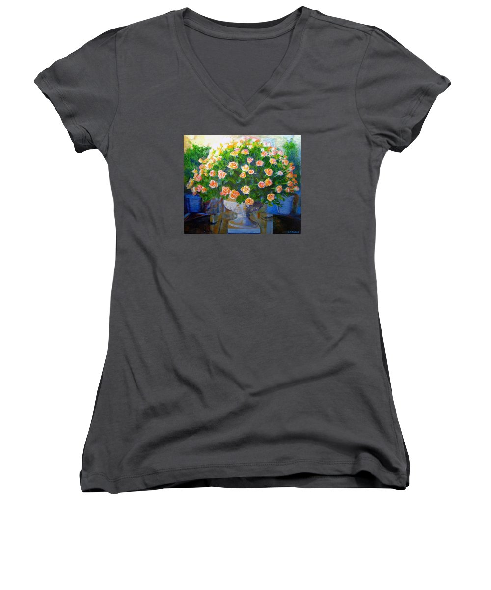 Rose Women's V-Neck (Athletic Fit) featuring the painting Roses At Table Bay by Michael Durst