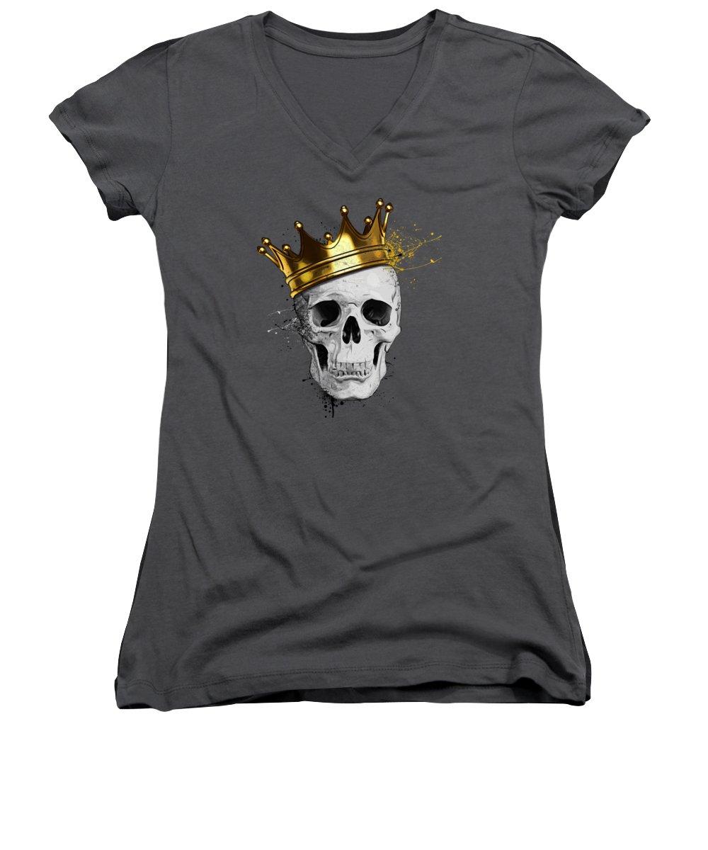 Skull Women's V-Neck featuring the digital art Royal Skull by Nicklas Gustafsson