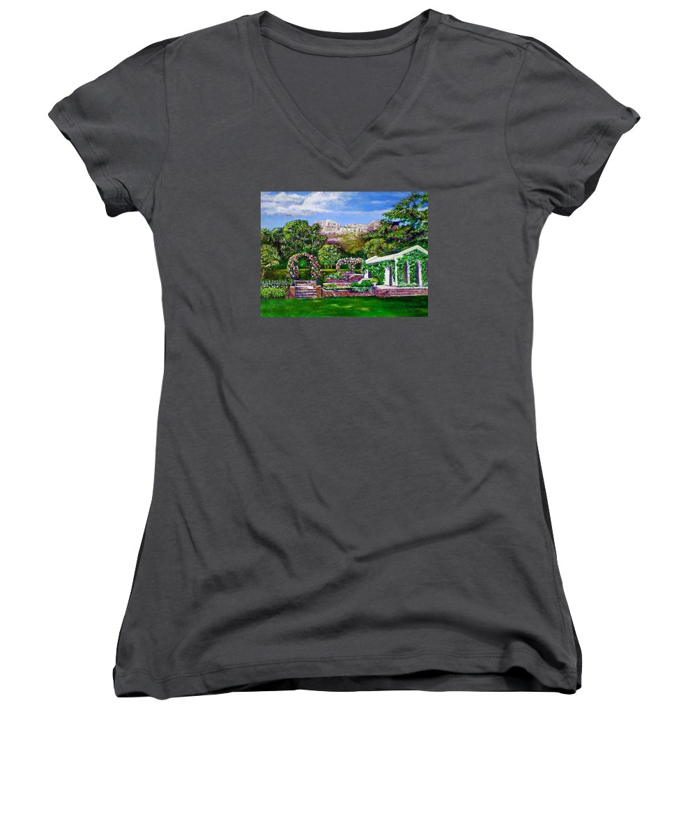 Landscape Women's V-Neck (Athletic Fit) featuring the painting Rozannes Garden by Michael Durst
