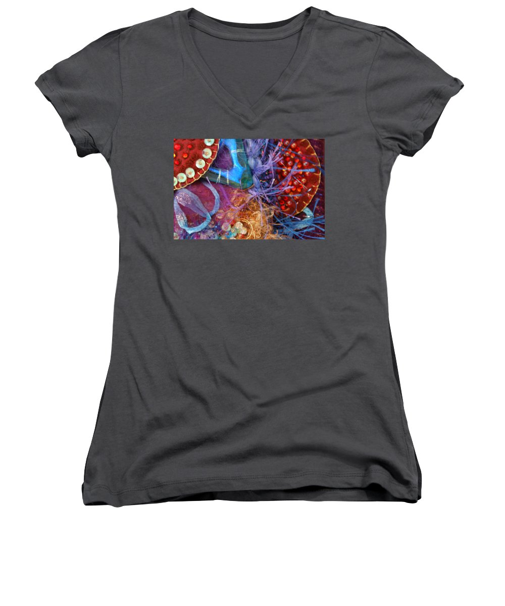 Women's V-Neck (Athletic Fit) featuring the mixed media Ruby Slippers 6 by Judy Henninger