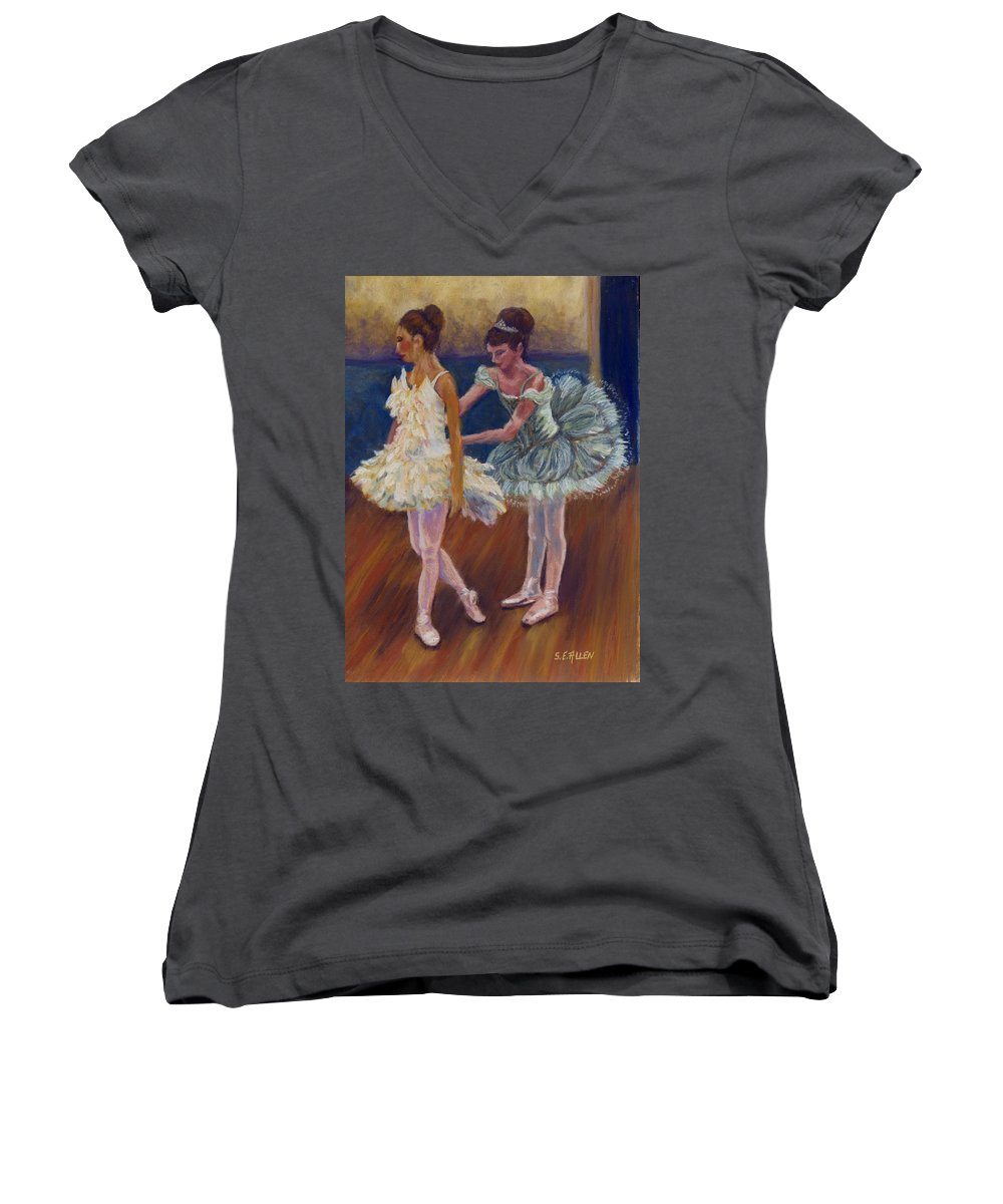 Ballerina Women's V-Neck T-Shirt featuring the painting Ruffled Feathers by Sharon E Allen