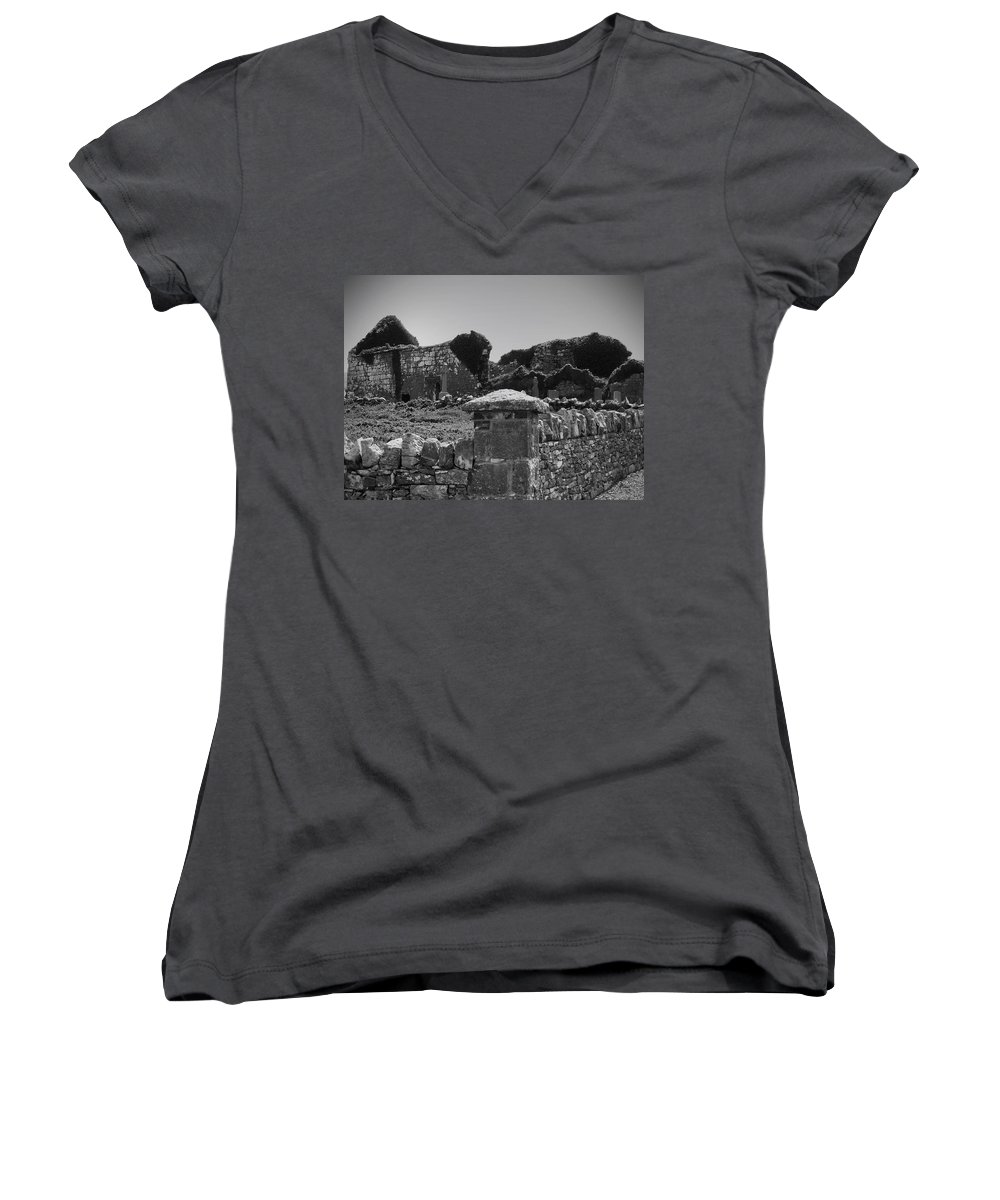 Irish Women's V-Neck (Athletic Fit) featuring the photograph Ruins In The Burren County Clare Ireland by Teresa Mucha