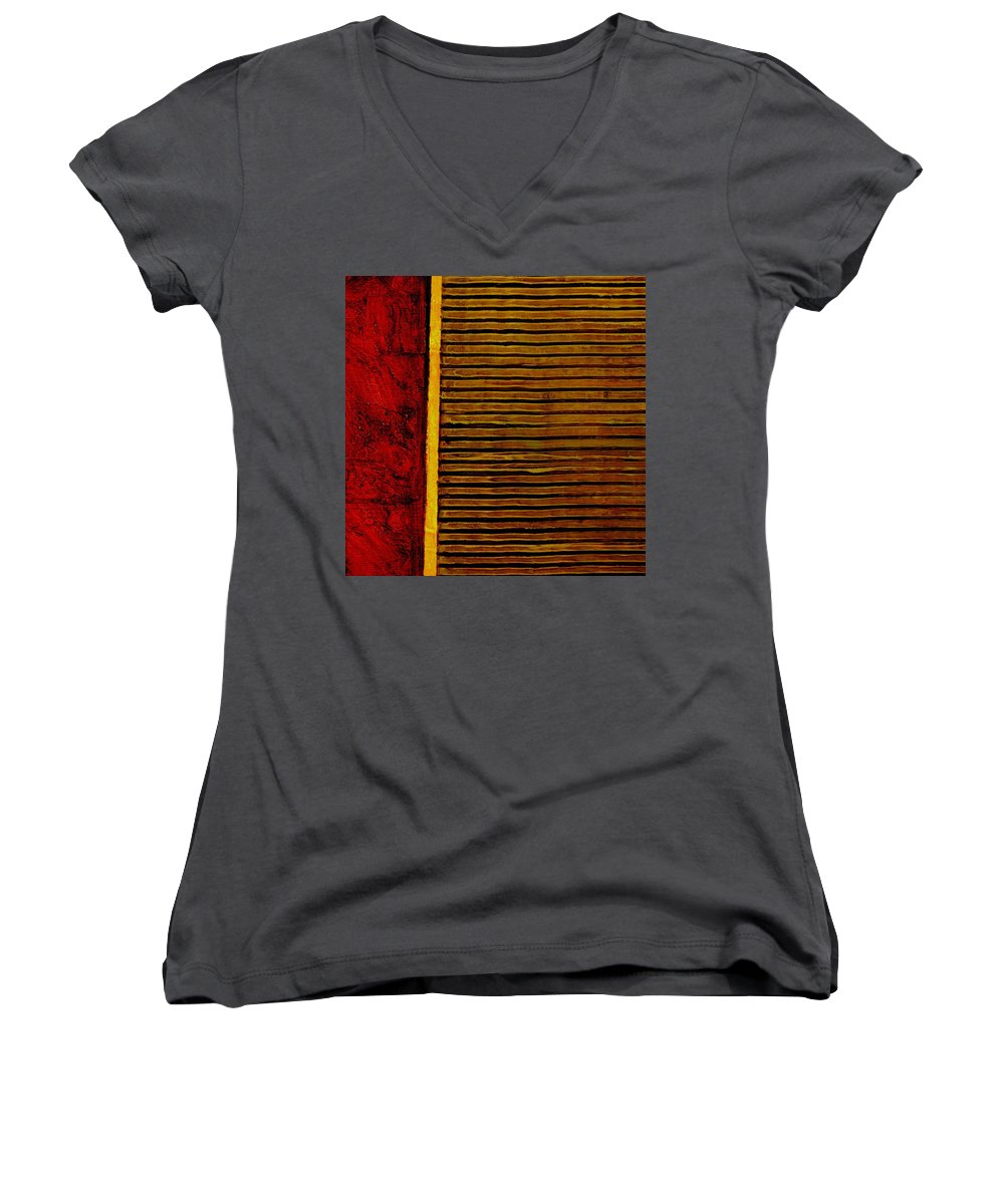 Rustic Women's V-Neck (Athletic Fit) featuring the painting Rustic Abstract One by Michelle Calkins
