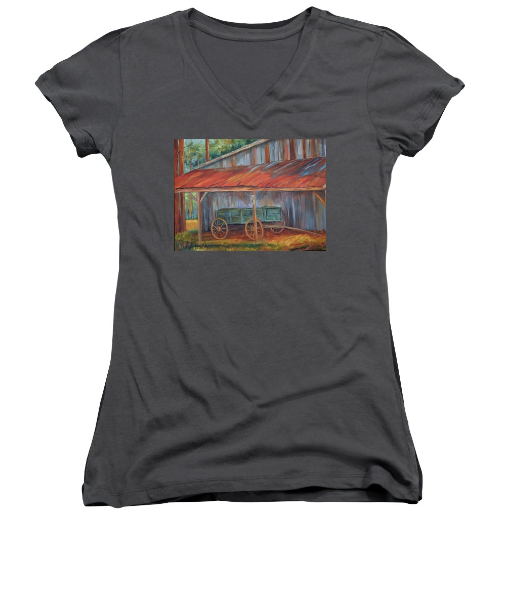 Old Wagons Women's V-Neck T-Shirt featuring the painting Rustification by Ginger Concepcion