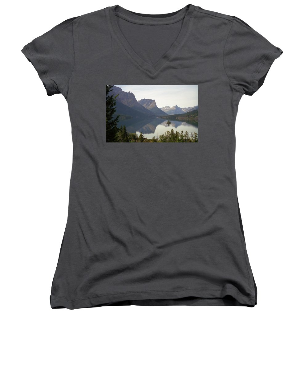 Lake Women's V-Neck T-Shirt featuring the photograph Saint Marys Lake by Richard Rizzo