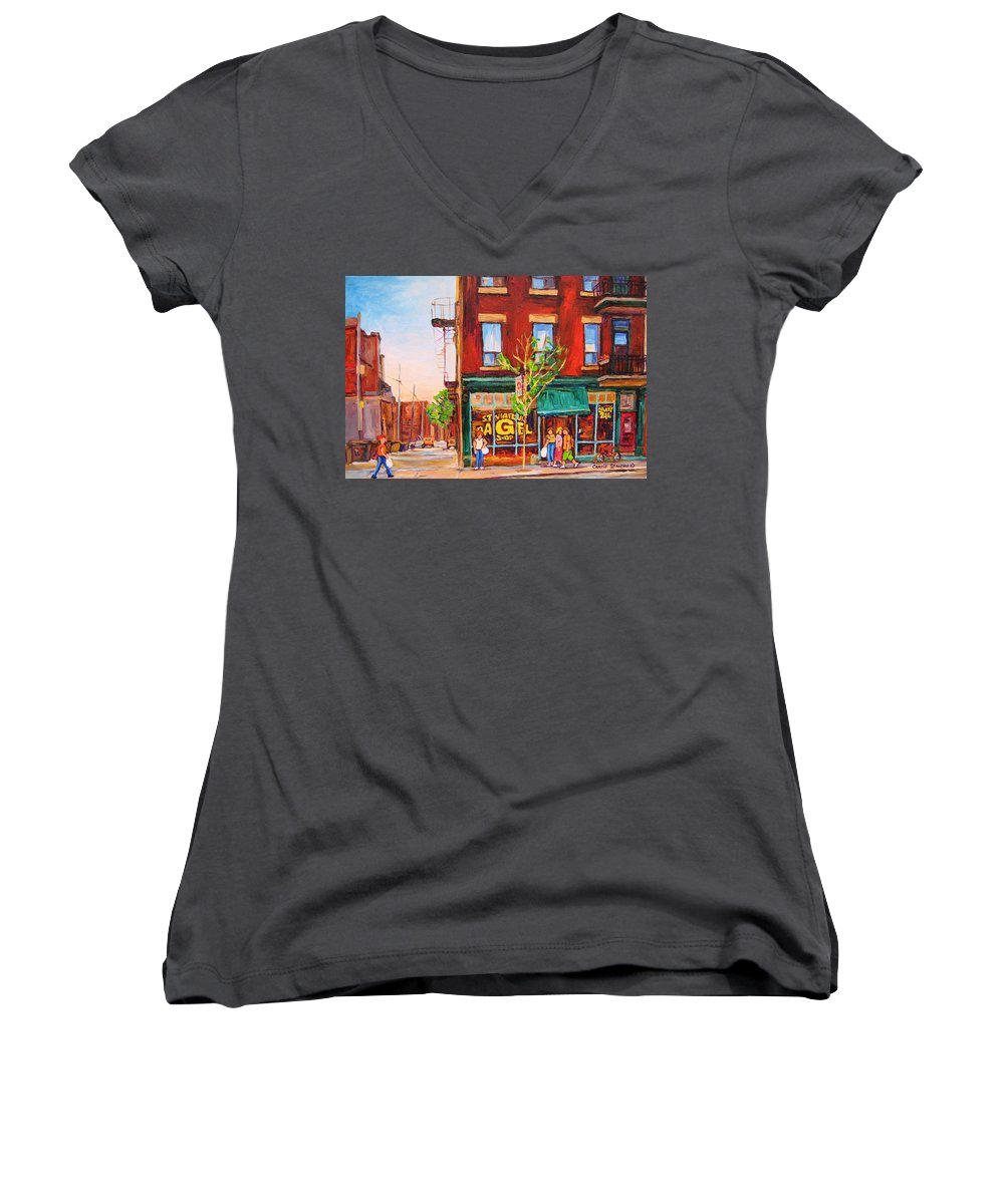 Montreal Women's V-Neck T-Shirt featuring the painting Saint Viateur Bagel by Carole Spandau