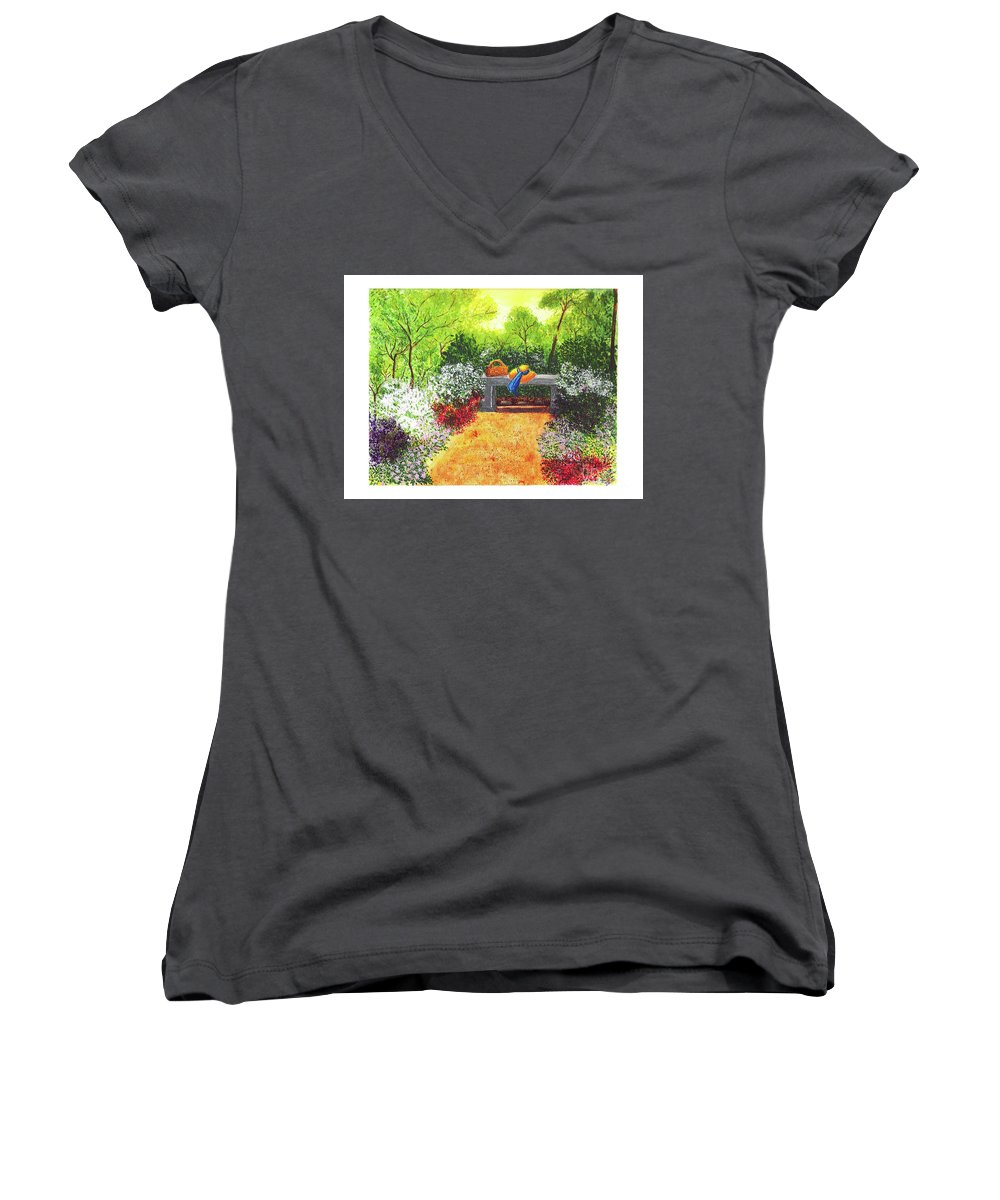 Garden Painting Women's V-Neck (Athletic Fit) featuring the painting Sanctuary by Patricia Griffin Brett