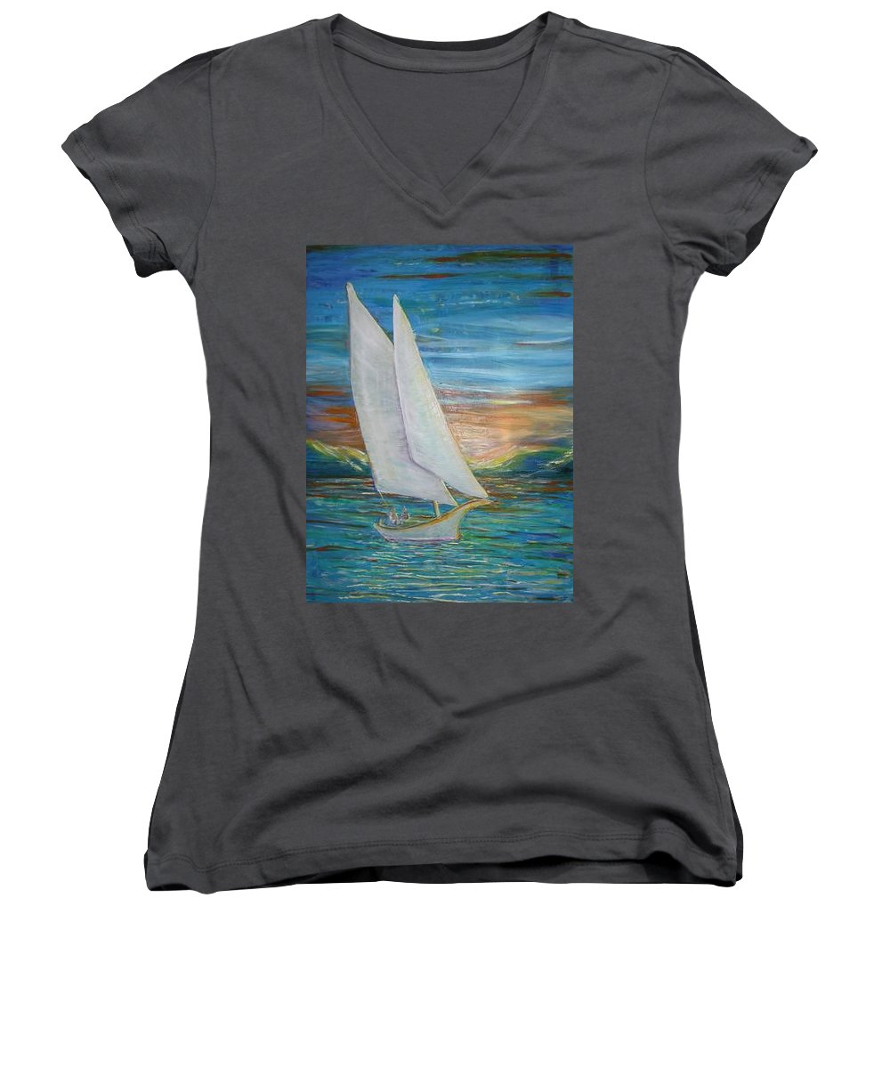 Sailboat Women's V-Neck (Athletic Fit) featuring the painting Saturday Sail by Regina Walsh