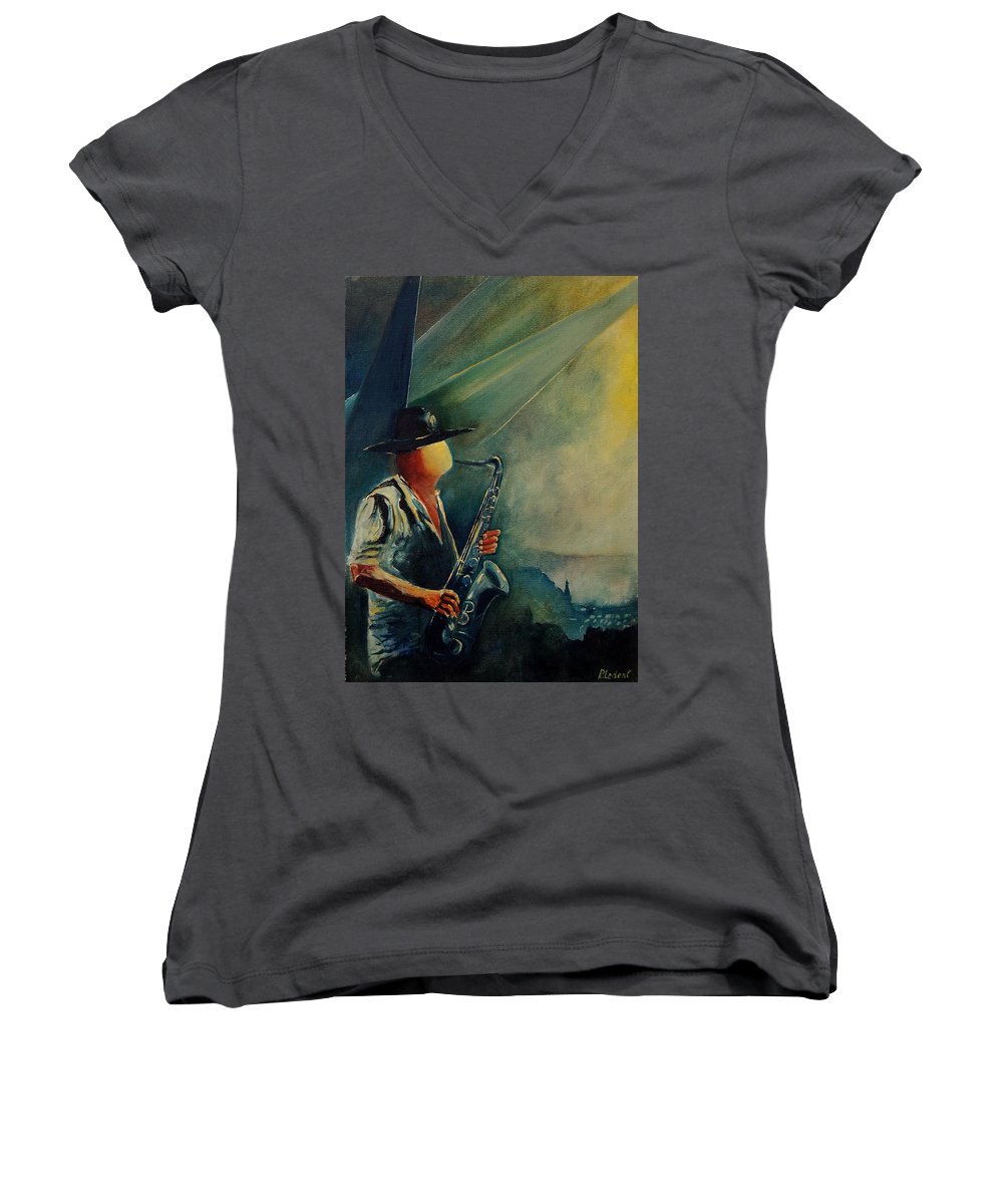 Music Women's V-Neck (Athletic Fit) featuring the painting Sax Player by Pol Ledent