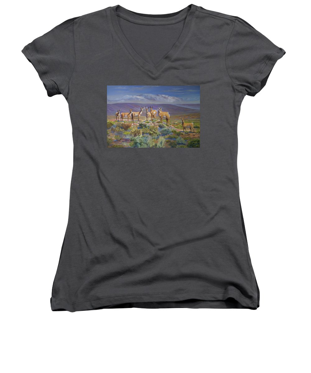 Antelope Women's V-Neck (Athletic Fit) featuring the painting Say Cheese Antelope by Heather Coen