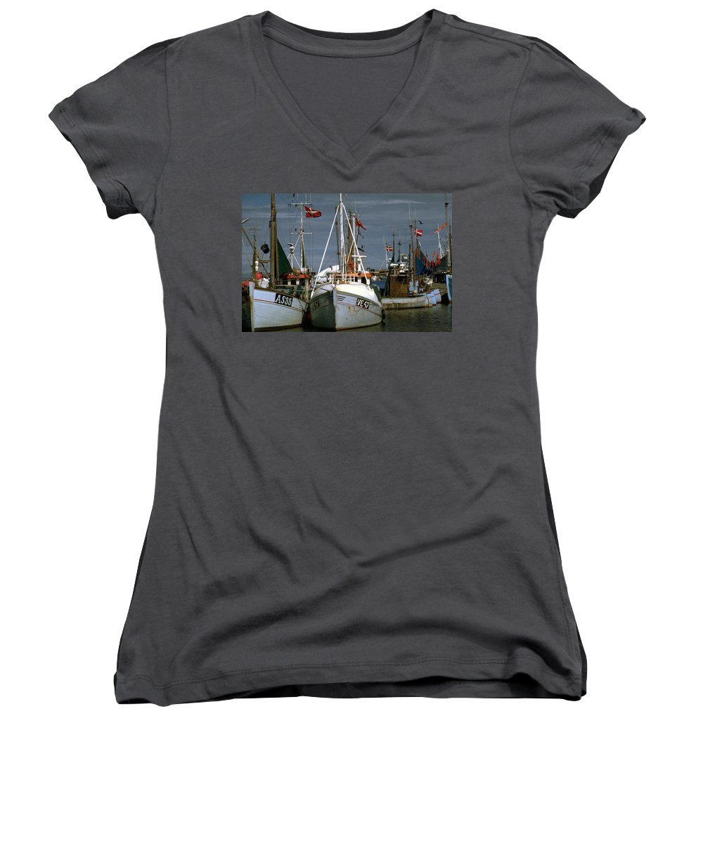 Scandinavian Women's V-Neck (Athletic Fit) featuring the photograph Scandinavian Fisher Boats by Flavia Westerwelle